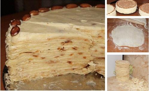 Торт наполеон крема с фото пошагово