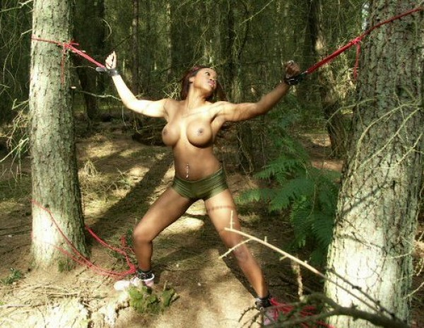 Teen girl naked tied to tree