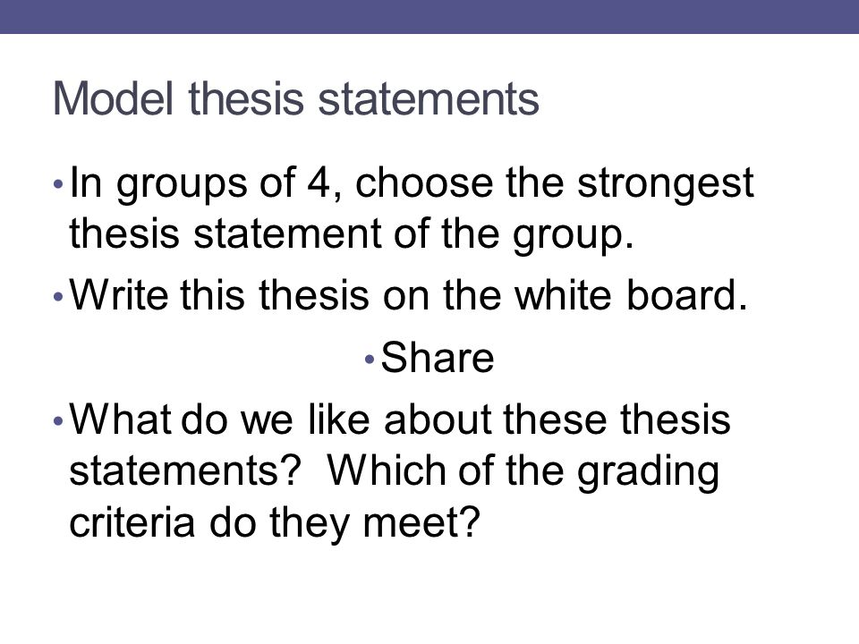 Thesis statement model