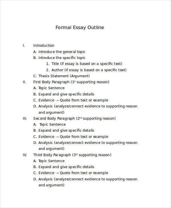 Research paper outline form