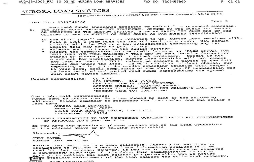 Aurora loan services phone number