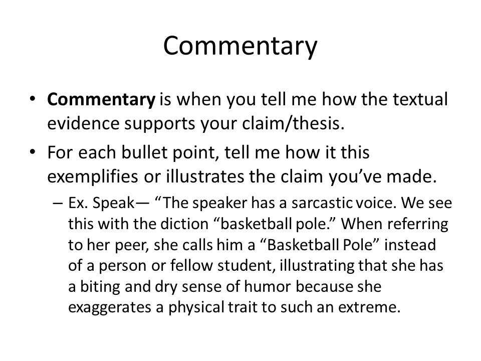 Commentary thesis