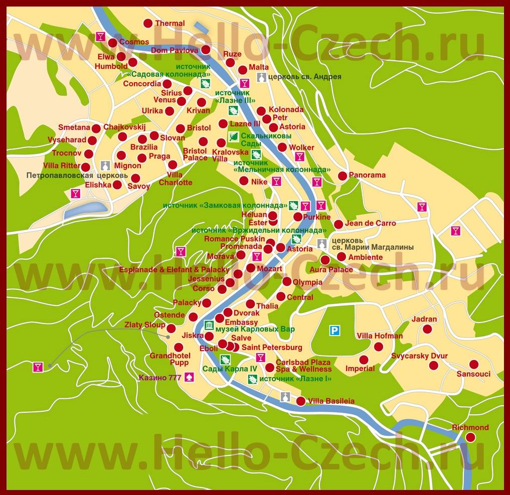 карта санатории карловы вары