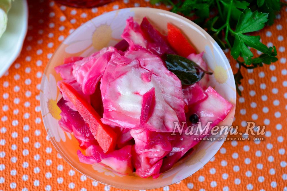 Рецепт маринования капусты со свеклой быстрого