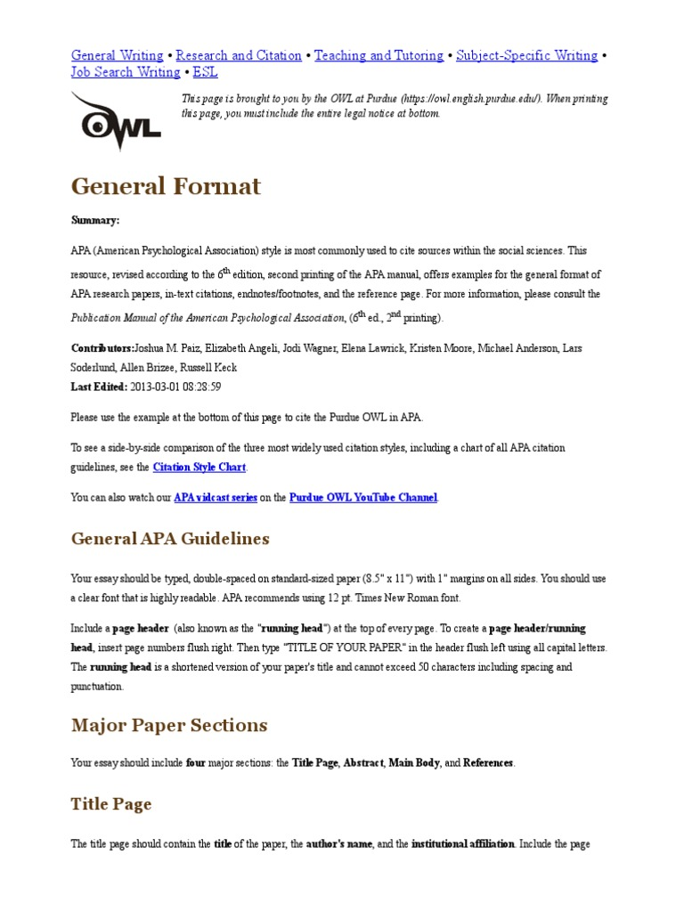 Research paper references apa format