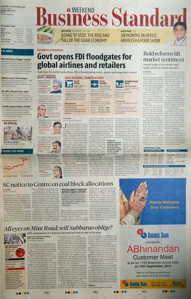 Economic news papers in india