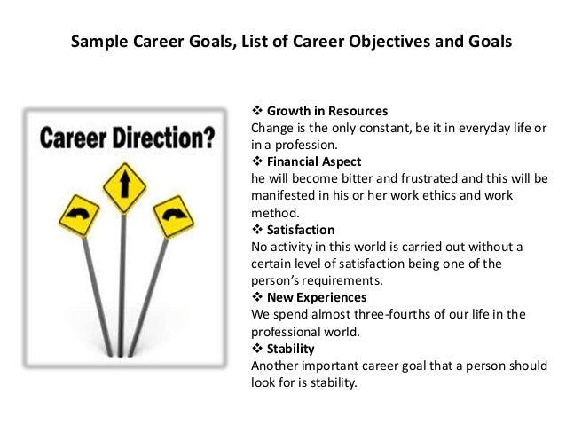 list of job goals enomwarbco list of career objective for resume - List Of Career Objective For Resume