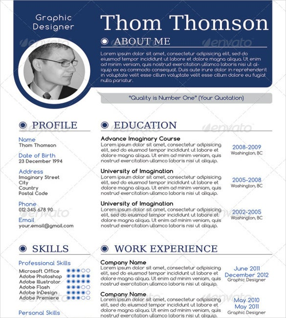modern one page resumes yun56co - One Page Resume Template Free