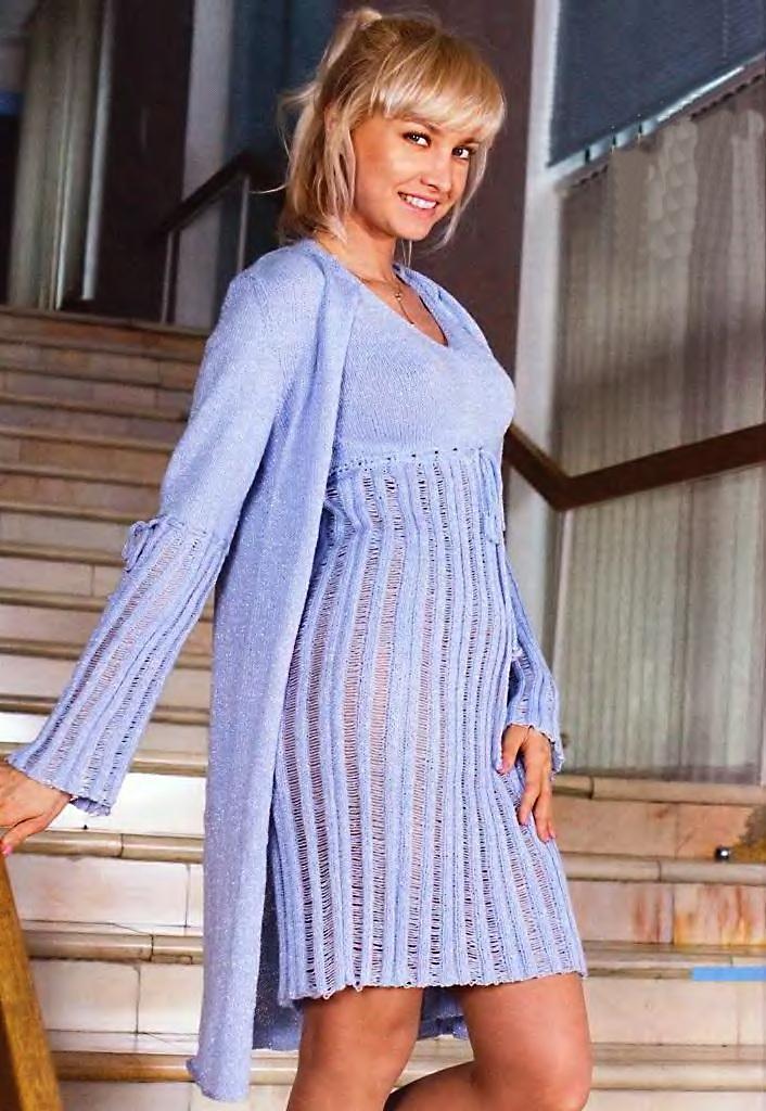 вязание платье с завышенной талией
