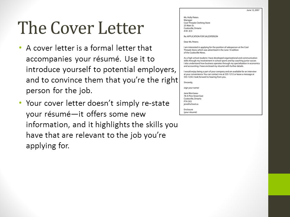 Letter of cover