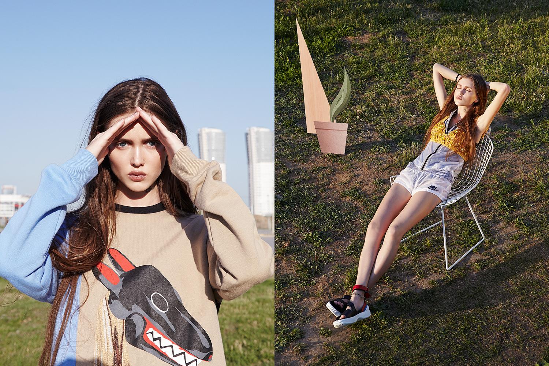 Слева: свитшот Walter Van Beirendonck, 31300 р. Справа: жилет Nike, 2495 р., шорты Nike, 2960 р., бюстье Prada, 47850 р., сандалии Prada, 28500 р.