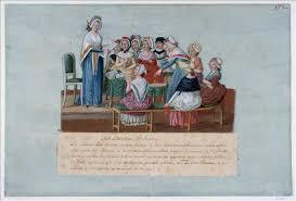«Женский патриотический клуб» (1791) работы художника Жан-Батиста Лесера. С 1791 по 1793 год француженки собирались в подобных клубах, чтобы поддержать Республику и выступить за равные права для женщин. На картине женщины собирают пожертвования на общее дело.