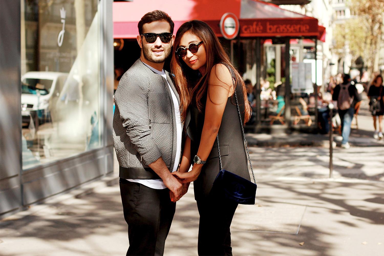 На Екатерине: жилет DKNY, брюки Max Mara, клатч Chanel, часы Rolex. На Армене: куртка Balenciaga, футболка H&M, часы Rolex, очки Ray-Ban, брюки Neil Barrett.