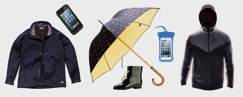 Водонепроницаемая ветровка, Softshell, 2 519 р., водонепроницаемый чехол для айфона, Lifeproof Fre, 3 690 р., зонт, London Undercover, 9 590 р., резиновые сапоги, Melissa, 3 400 р., чехол для документов или любого телефона, Slim Case, 890 р., непромокаемая куртка, Nike, 5 990 р.