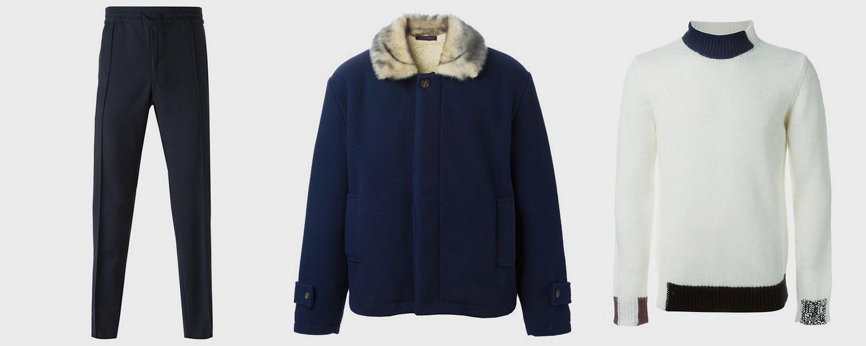 Брюки Valentino, 24 778 р., куртка Gosha Rubchinskiy, 38 745 р., свитер Raf Simons, 24 684 р.