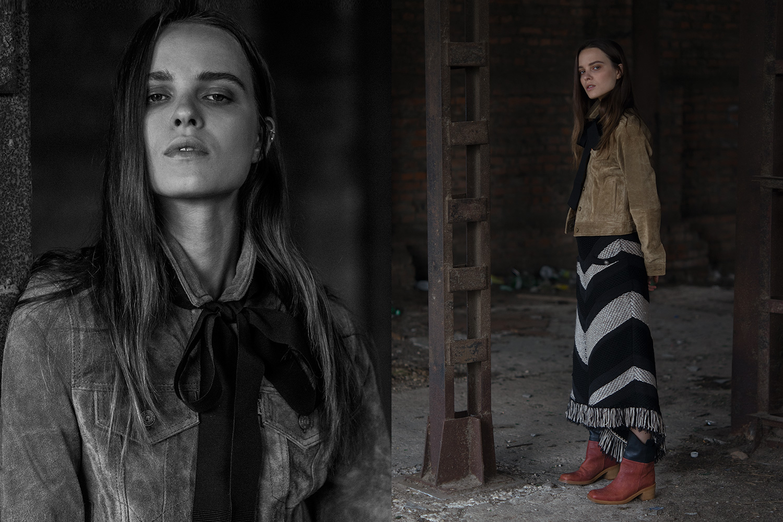 Слева: куртка Levi's, 15800 р. Справа: куртка Levi's, 15800 р., юбка Chanel, 39900 р., полусапоги Chanel, 54800 р.