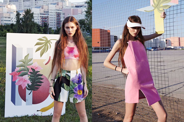 Слева: топ Nike, 2999 р., шорты Akira Naka, 27900 р. Справа: платье Jacquemus, 27500 р., козырек Marni, 5500 р.