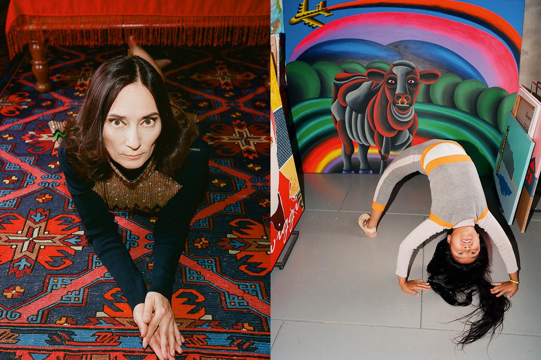 Слева: платье Christian Dior; справа: костюм H&M; искусство: Владимир Григ «Twiggi P.S.» (слева), Олег Хвостов «Тосканский бычок» (в центре), Борис Матросов «Тень» (справа)