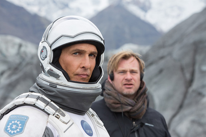 Кристофер Нолан (справа) на съемках «Интерстеллар» с Мэттью МакКонахи