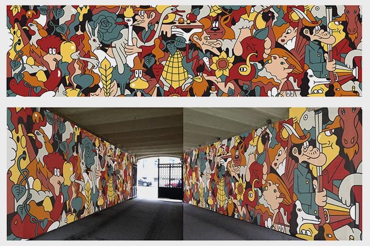 Эскизы художника Nootk: граффити в арке, роспись в гардеробе и туалете