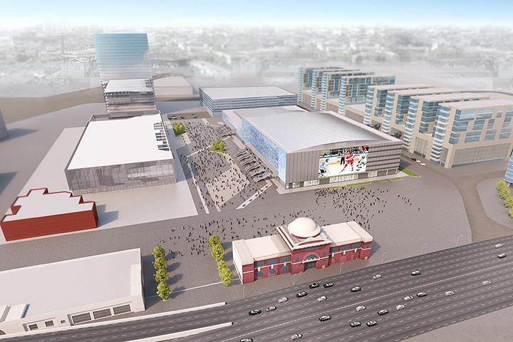 Один из видов на квартал «Парк легенд» со стадионом «ВТБ Ледовый дворец» – он уже построен, и примет в следующем году Чемпионат мира по хоккею