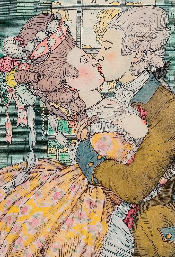Константин Сомов. Поцелуй. Иллюстрация к «Книге Маркизы», 1908 (?)