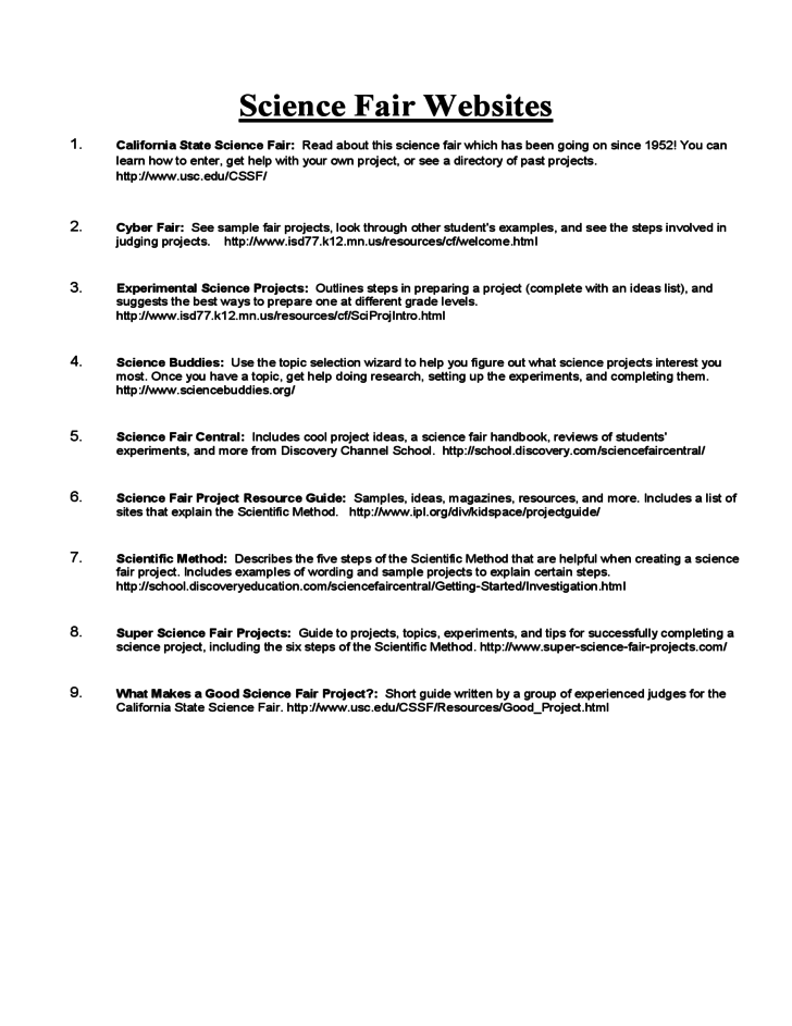 Science fair research paper outline format