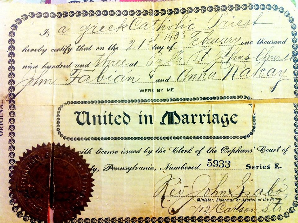 Marriage license copy pittsburgh pa