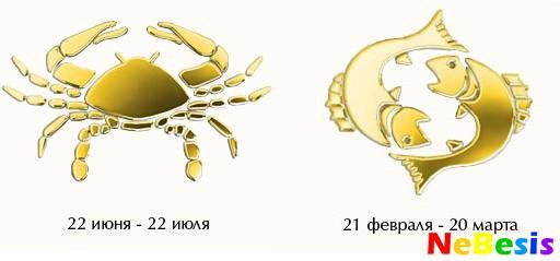 Гороскоп совместимости мужчи  рак женщи  рыбы совместимость