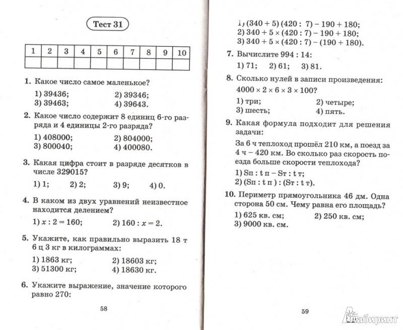 Итоговый тест по математике для 8 класса с ответами