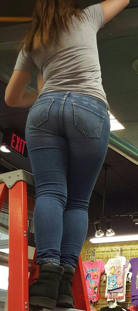 Jeans in girls candid ass tight