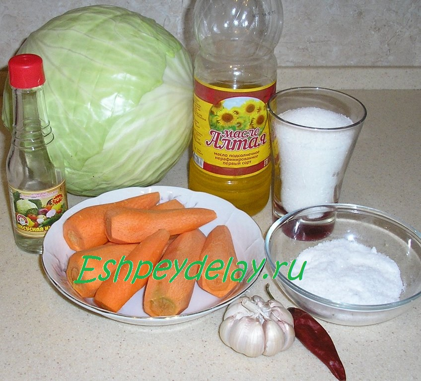 Рецепт быстрой маринованной капусты с чесноком