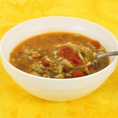 Рецепт Быстрый суп изиндейки скоричневым рисом