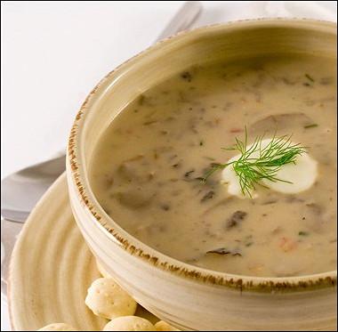 Рецепт Грибной суп накурином бульоне