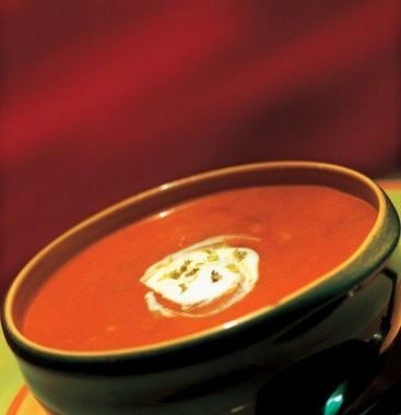 Рецепт Томатный суп-пюре сосметаной ипесто
