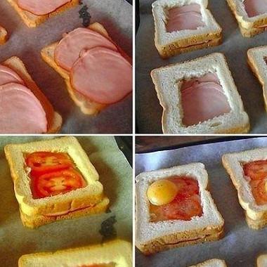 Рецепт Запеченные бутерброды с ветчиной, помидорами и яйцами