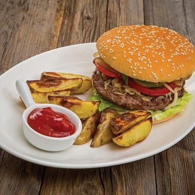 Рецепт Чизбургер сговядиной коби изапеченным картофелем