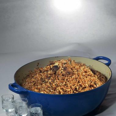 Рецепт Гречневая каша сбелыми грибами ипармезаном