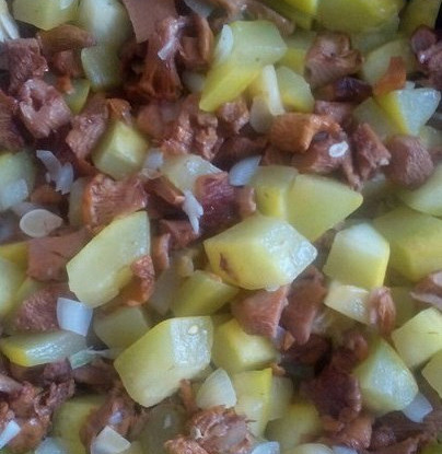 Кабачки с лисичками под сливочно-чесночном соусом с помидорами