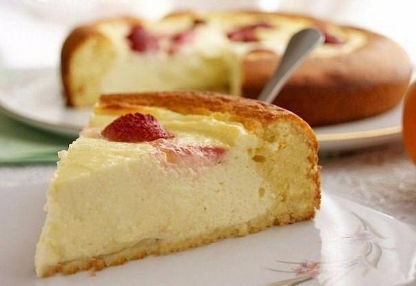 Открытый творожно-сметанный пирог