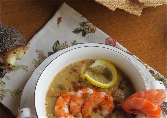 Чечевичный суп с лангустинами