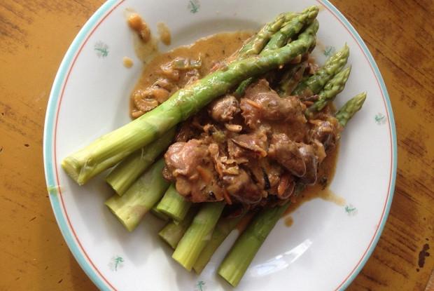 Сердца и желудки куриные в соусе