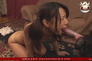 Girl with black hair sucking dick