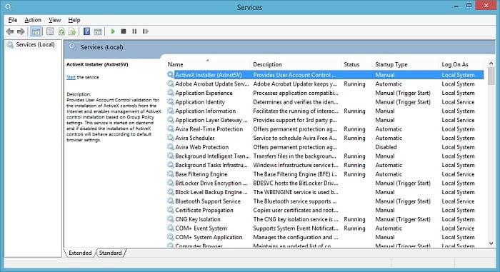 Windows update service manual start